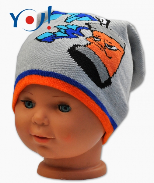 YO !  Jesenná čiapočka YO! Grafitti - sv. sivá/oranžový lem-52 čepičky obvod