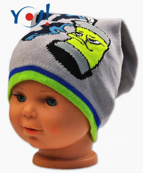 YO !  Jesenná čiapočka YO! Grafitti - tm. sivá/zelený lem-52 čepičky obvod