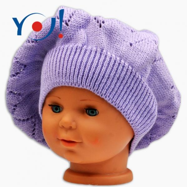 YO !  Háčkovaný baret YO! - lila-#Velikost koj. oblečení;56 čepičky obvod;54 čepičky obvod