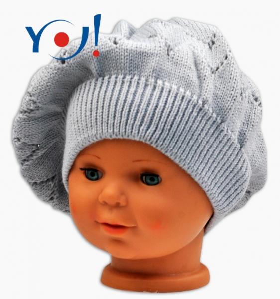 YO !  Háčkovaný baret YO! - sivý-#Velikost koj. oblečení;56 čepičky obvod;54 čepičky obvod