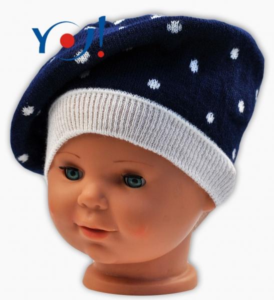 YO !  Jesenný baret YO! Bodky - tm. modrá/biele bodky-#Velikost koj. oblečení;46/48 čepičky obvod