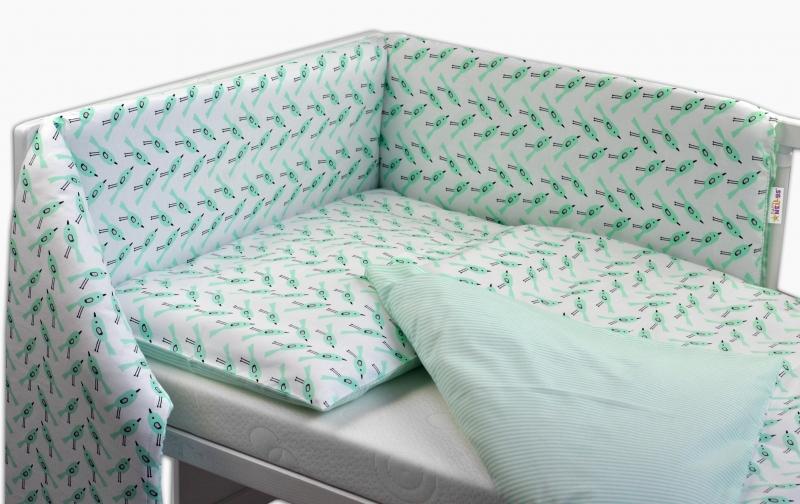 Baby Nellys Oboustranný mantinel s obliečkami - granátovo-zelené vtáky/proužky