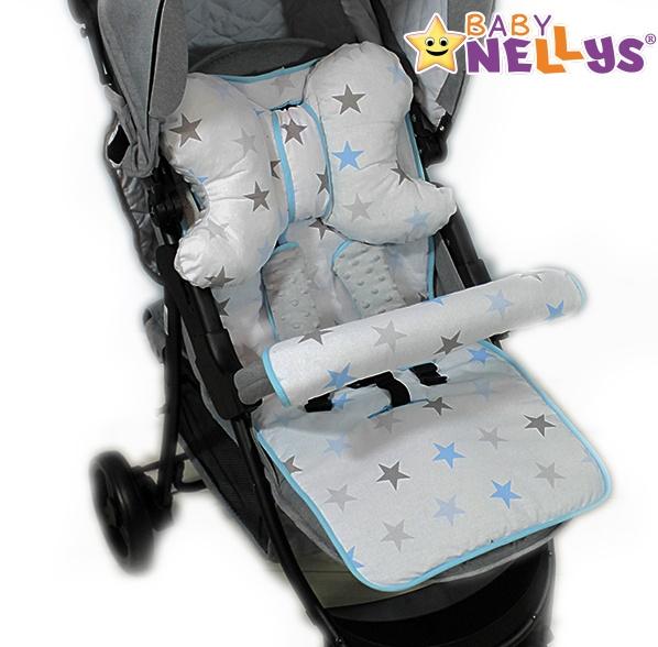Baby Nellys Komplet do kočíka - podložka, polštářek, potah na popruhy a barierku č. 6  D19