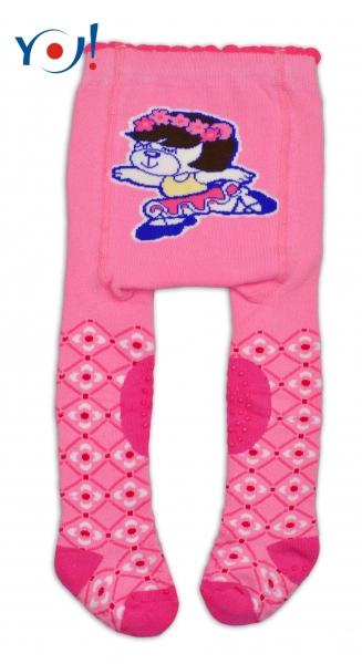 YO !  YO! Bavlnené pančucháčky ABS na chodidle, priehlavku aj kolienku -ružové s balerínou