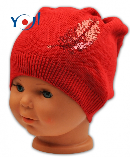 YO !  Bavlnená čiapočka YO! Lístok - červená-54
