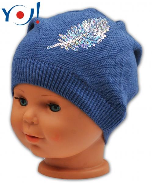 YO !  Bavlnená čiapočka YO! Lístok - tm. modrá-54