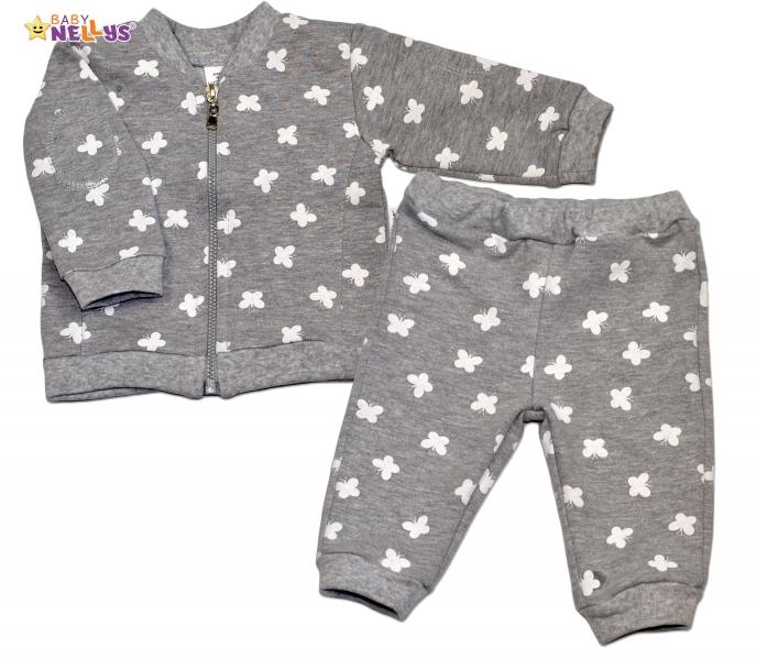 Bavlnená tepláková súprava Baby Nellys ® - Motýle/sivá