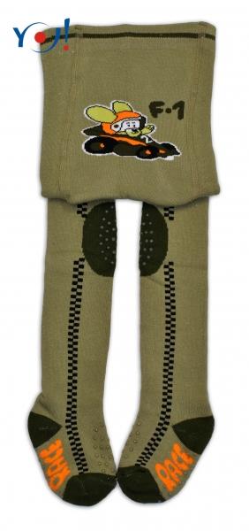 YO! Bavlnené pančucháčky ABS na chodidle, priehlavku aj kolienku-Khaki s pretekárskym auto