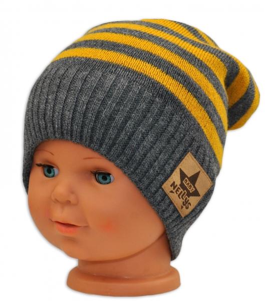 BABY NELLYS Jesenná/zimní prúžkovaná čiapka - šedo/žltá-3-8let