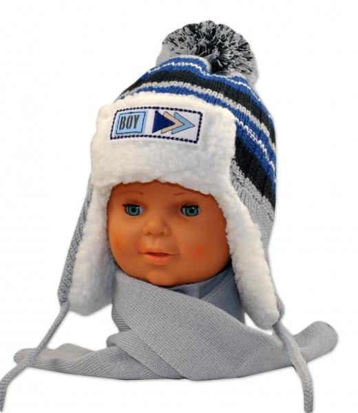 BABY NELLYS Zimná čiapočka s kožušinkou a šálom Maty - sivá
