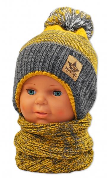 BABY NELLYS Zimná čiapočka s komínom - žltá/grafit