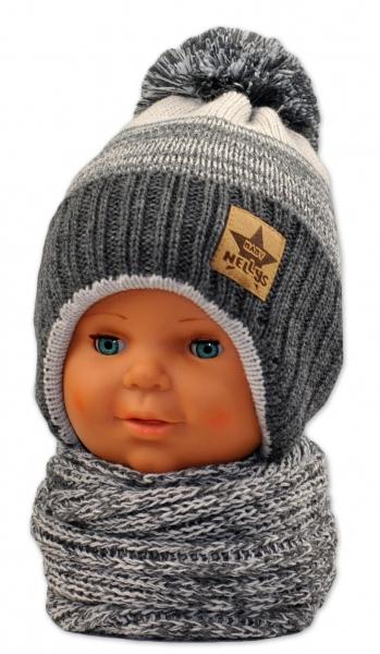 BABY NELLYS Zimná čiapočka s komínom - sv.sivá/grafit