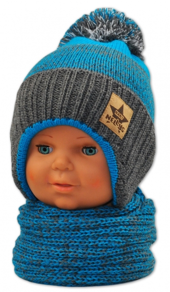 BABY NELLYS Zimná čiapočka s komínom - modrá/grafit