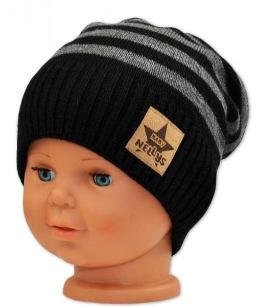 BABY NELLYS Jesenná/zimní prúžkovaná čiapka - čierno/sivá-#Velikost koj. oblečení;3-8let