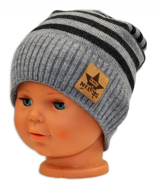 BABY NELLYS Jesenná/zimní prúžkovaná čiapka - sv.sivo/grafit-3-8let