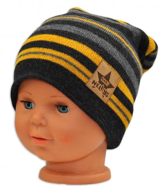BABY NELLYS Jarná/jesenná prúžkovaná čiapka - grafit/sivá/žltá