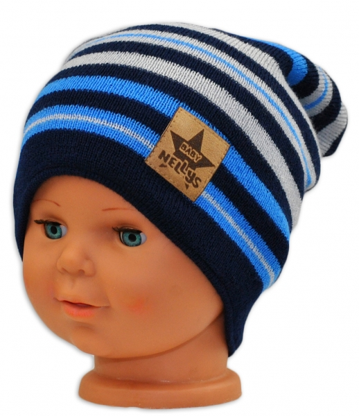 BABY NELLYS Jarná/jesenná prúžkovaná čiapka - granát/sv. modrá/sv. sivá