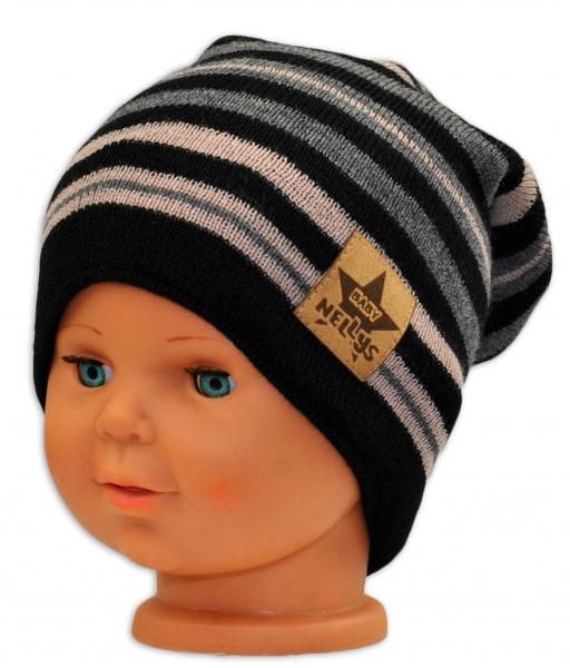 BABY NELLYS Jarná/jesenná prúžkovaná čiapka - čierná/béžová/grafit