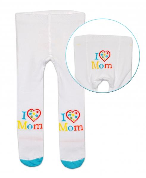 Bavlnené pančucháče Baby Nellys ® -  I love Mom - bielé