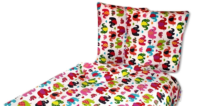 Bavlnené obliečky 140 x 200 - Sloni ružovi