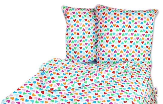 Bavlnené obliečky 140 x 200/70 x 90 - srdiečka farebná