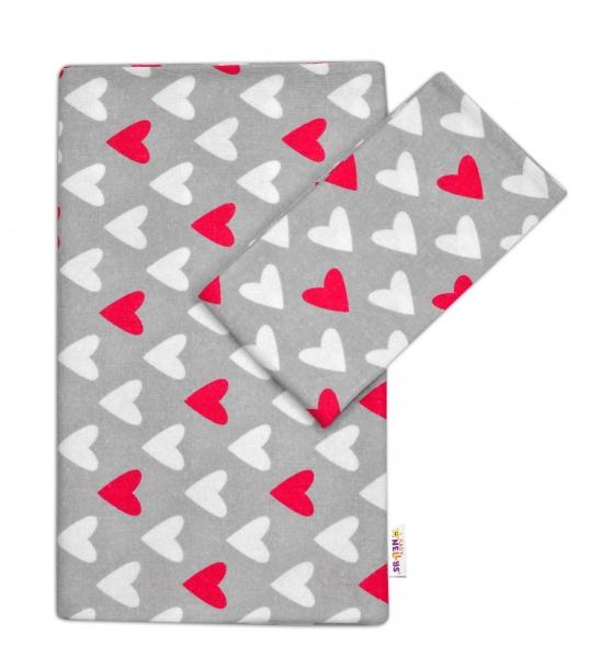 Flanelové obliečky Baby Nellys ® - Srdiečka ružová / biela v šedej