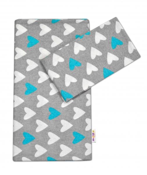 Flanelové obliečky Baby Nellys ® - Srdiečka tyrkysová/biela v šedej