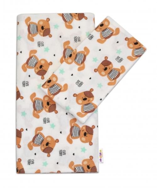 Flanelové obliečky Baby Nellys ® - Medvedík hnedý v bielej CUTE TEDDY
