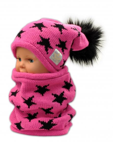 BABY NELLYS Jesenná/zimná čiapka s komínkem - malinová - hviezdičky čierne