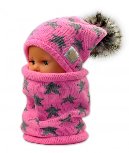 Jesenná / zimná čiapka s komínkem - ružová - hviezdičky sivé
