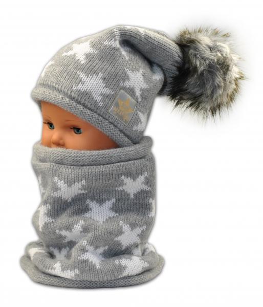 BABY NELLYS Jesenná/zimná čiapka s komínkem - sv. sivá - hviezdičky bielé