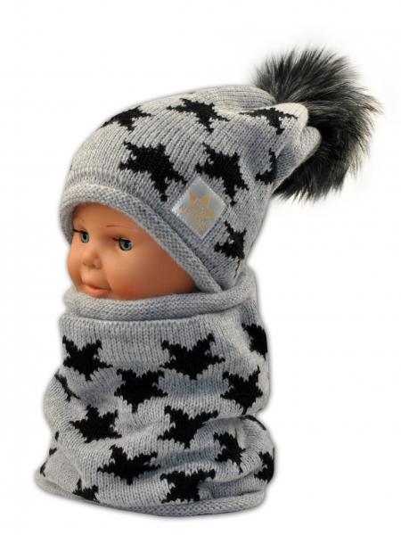 BABY NELLYS Jesenná/zimná čiapka s komínkem - sivá - hviezdičky čierné