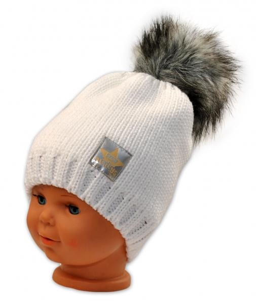 BABY NELLYS Zimná čiapočka s bambulkou - biela