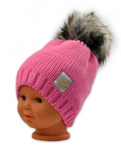 BABY NELLYS Zimná čiapočka s bambulkou - ružová