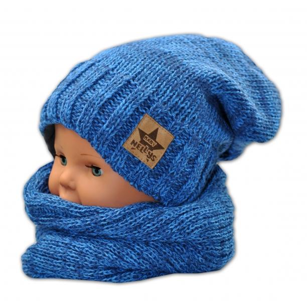 BABY NELLYS Jesenná/zimná čiapka s komínkem - modrá