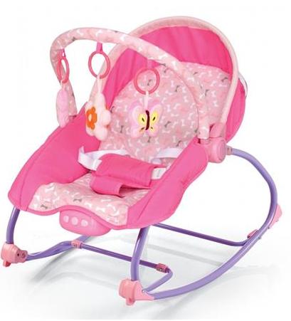 BABY MIX Lehátko pre dojčatá s vibrácií a hudbou - Motýle - ružové