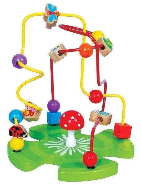 Edukačná drevená hračka labyrint 26 cm - Záhradka