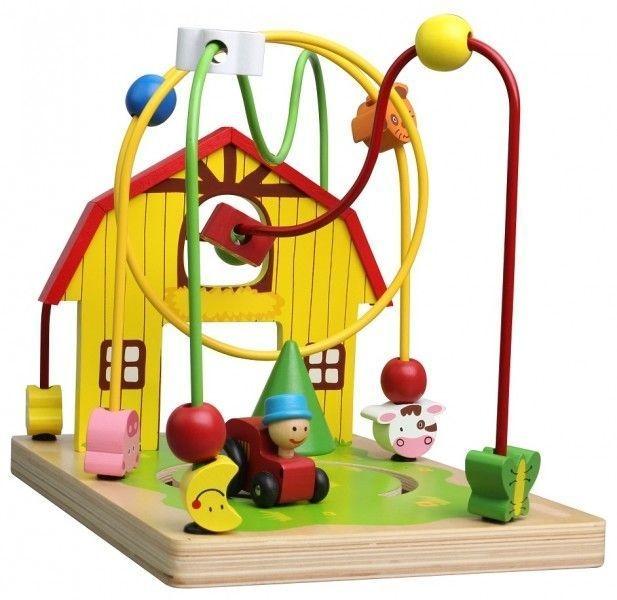 Edukačná drevená hračka labyrint 25,5 cm - Farma