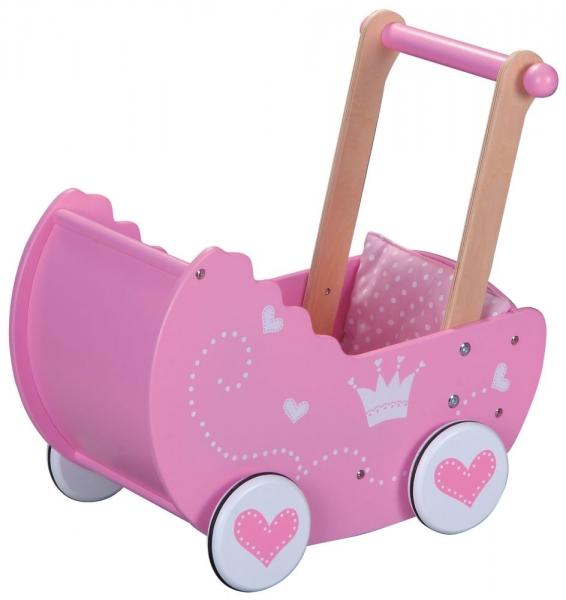 Lelin Drevený kočík pre bábiky 42,5 cm - ružový