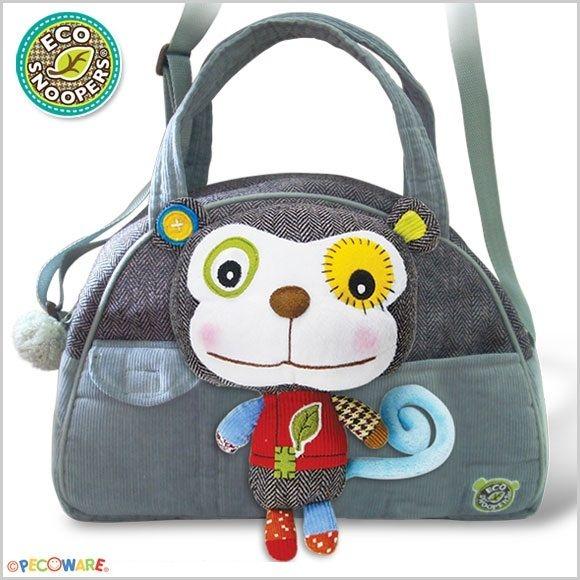 Štýlová detská taška Opička - sivá