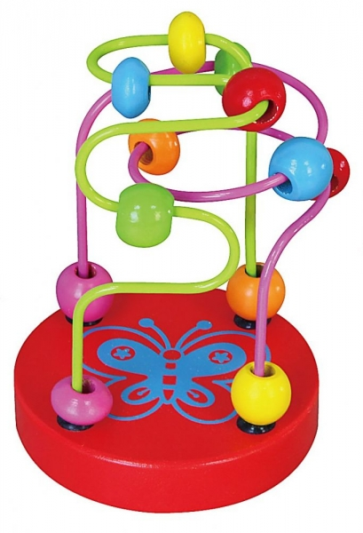 Edukačná drevená hračka mini labyrint 12 cm - Motýlik - červený
