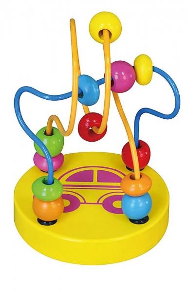 Edukačná drevená hračka mini labyrint 12 cm - Autíčko - žltý