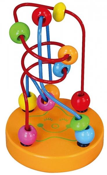 Edukačná drevená hračka mini labyrint 12 cm - Hviezdička - oranžový