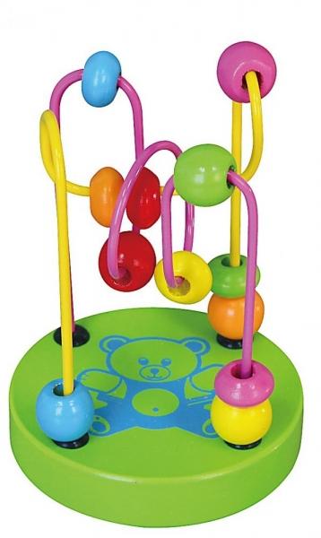 Edukačná drevená hračka mini labyrint 12 cm - Medvedík - zelený