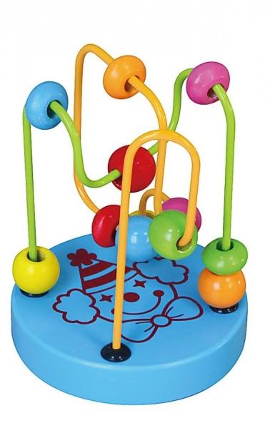 Edukačná drevená hračka mini labyrint 12 cm - Klaun - modrý