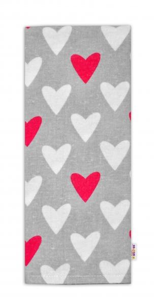Flanelová plienka - Srdiečka ružová/biela v šedej