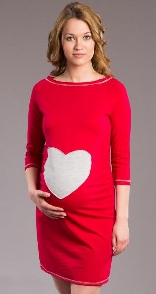 Tehotenské šaty SRDCE -  červené-XS/L
