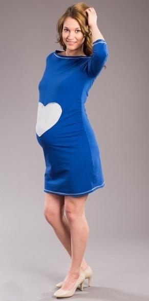 Tehotenské šaty SRDCE -  tm. modré