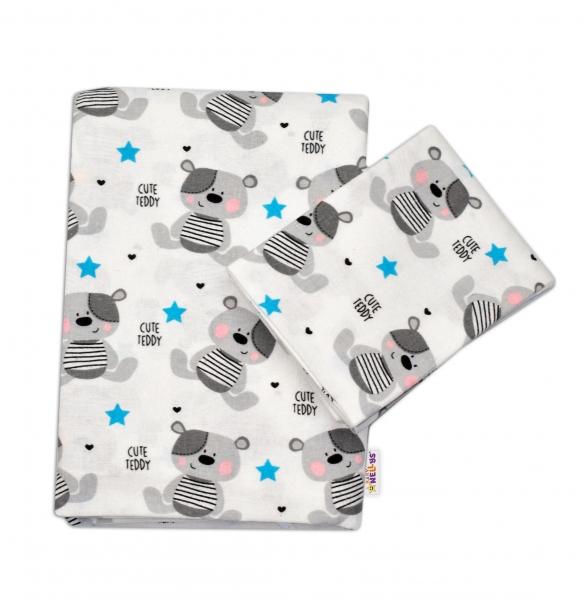 Flanelové obliečky Baby Nellys ® - Medvedík biely v bielej CUTE TEDDY
