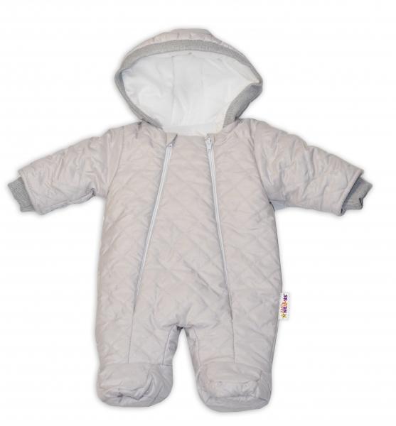 Kombinézka s kapucňu Lux Baby Nellys ®prošívaná - sv. sivá, veľ. 68-68 (4-6m)
